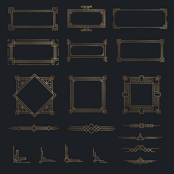 藝術裝飾線黃金邊框集 - 有邊框的 幅插畫檔、美工圖案、卡通及圖標