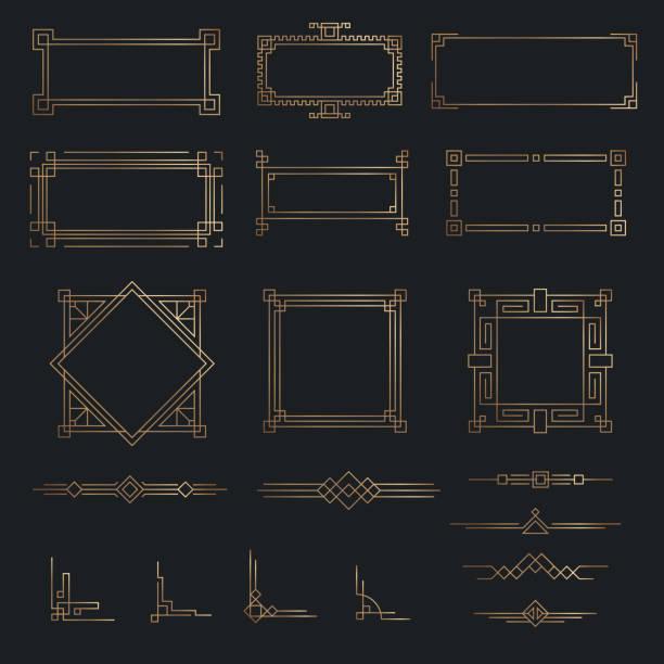 ilustrações de stock, clip art, desenhos animados e ícones de art deco line gold border set - frame
