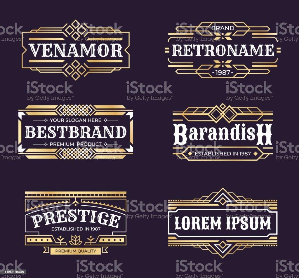 Art deco logos. Geometric hipster ornament frame, vintage line...