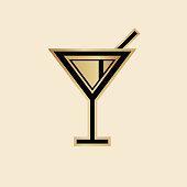 Art deco style Martini icon. Black and gold design.