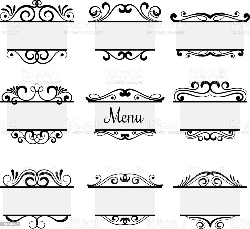 Art deco menu labels isolated on white background. Vintage vector elements vector art illustration