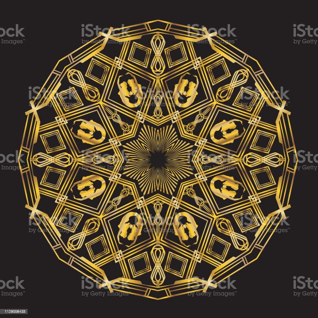 Art Deco Mermaid Bowsprit Mandala vector art illustration