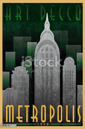 Vector illustration of an Art Decco style vintage advertisement poster. Features simple stylized cityscape with text design. Very textured. Download includes Illustrator 10 eps, high resolution jpg and png file.
