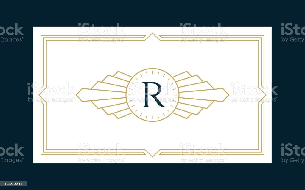 Art Deco Monogram Business & Invitation Card royalty-free art deco monogram business invitation card stock illustration - download image now
