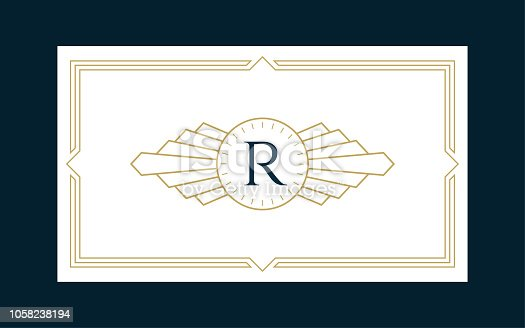 Art Deco Monogram Business & Invitation Card on the Navy Background