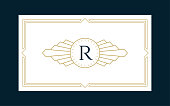 Art Deco Monogram Business & Invitation Card on the Navy Background