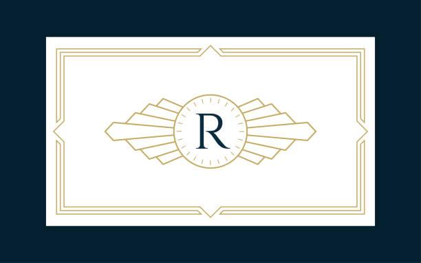 Art Deco Monogram Business & Invitation Card Art Deco Monogram Business & Invitation Card on the Navy Background alphabet symbols stock illustrations