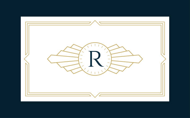 art deco monogram business & invitation card - art deco stock illustrations, clip art, cartoons, & icons