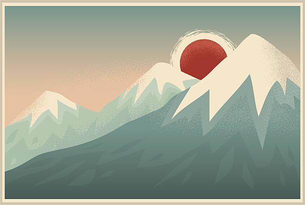 Art Deco Mountains vector art illustration