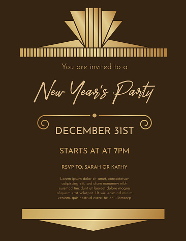 Art Deco New Year's Eve Party Invitation Template