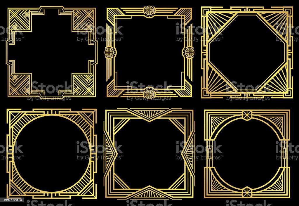 Art deco nouveau border frames in 1920s style vector set vector art illustration