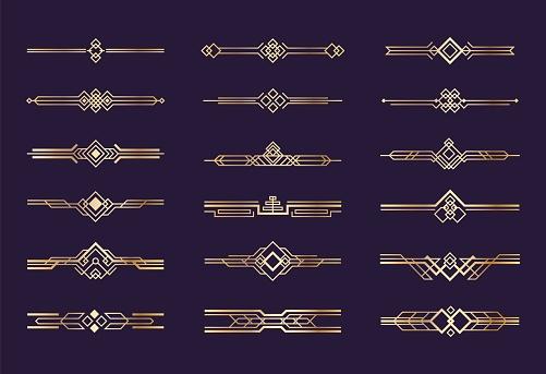 Art deco ornament. 1920s vintage gold borders and dividers, retro header graphic elements, nouveau vector geometric decoration