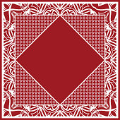 art deco ornament with hexagon. Print for fabric with ornamental border. Design for tablecloth, scarf, Carpet, Pillowcase. vector illustration