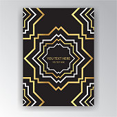 Art Deco page template, octagonal geometric pattern with zoom in effect for print and web decoration, creative style background golden black white.