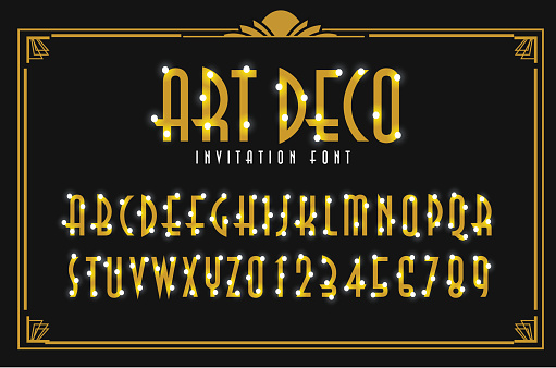 Art Deco Party Invitation golden capital letter text font design with glowing lights