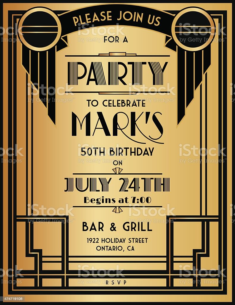 Art Deco Party Invitation Template In Black And Gold Stock Illustration -  Download Image Now - iStock