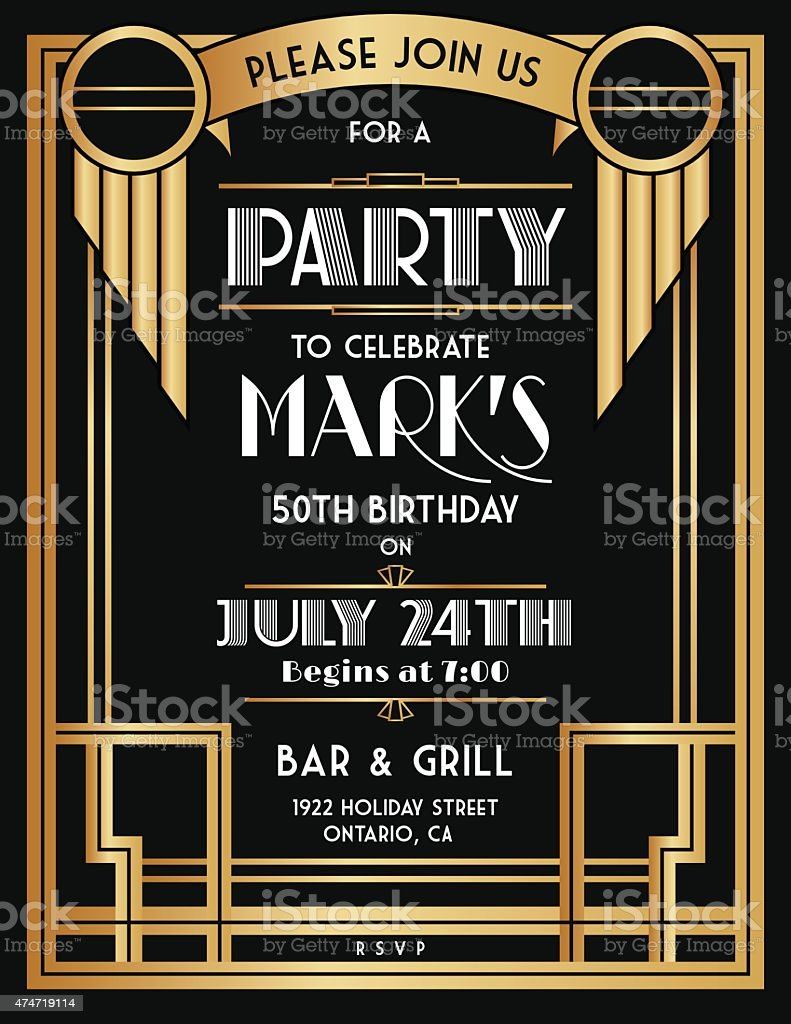 Art Deco Party Invitation Template In Black and Gold vector art illustration