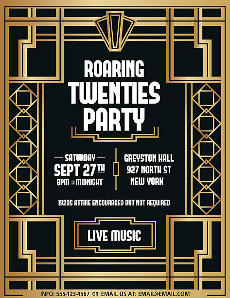 Royalty Free Art Deco Party Clip Art Vector Images Illustrations - 1920s party invitation template