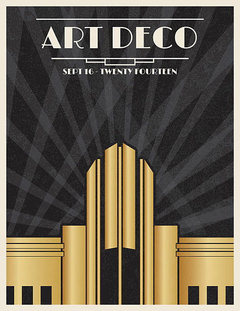 art deco party invitation template - 1920s style stock illustrations, clip art, cartoons, & icons