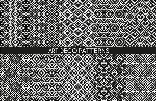 Art deco pattern backgrounds, geometric vintage