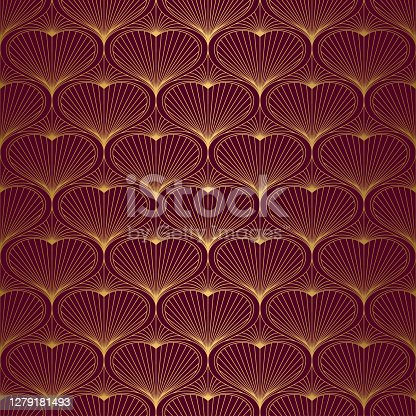 istock Art Deco Pattern from hearts. Seamless gold and red background 1279181493