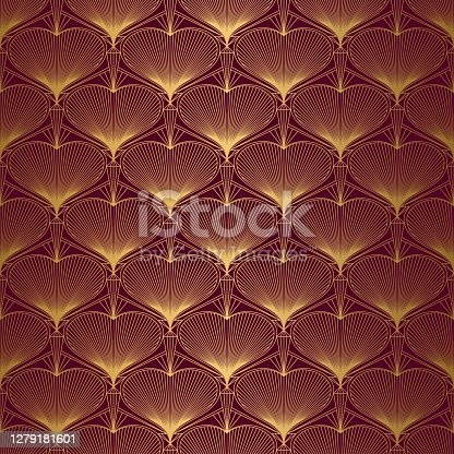 istock Art Deco Pattern from hearts. Seamless gold and red background 1279181601
