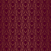 istock Art Deco Pattern from hearts. Seamless gold and red background 1279181647