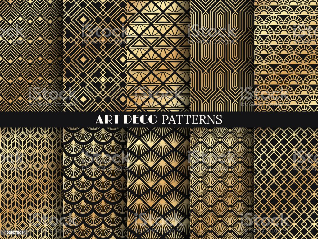 Art deco pattern. Golden minimalism lines, vintage geometric arts and deco line ornate seamless patterns vector set vector art illustration