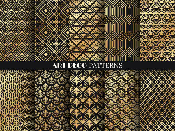 illustrazioni stock, clip art, cartoni animati e icone di tendenza di art deco pattern. golden minimalism lines, vintage geometric arts and deco line ornate seamless patterns vector set - sfondo retrò e vintage