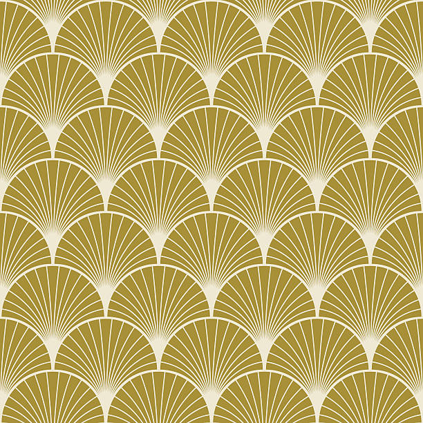 art deco pattern of overlapping arcs - 1940s style stock illustrations