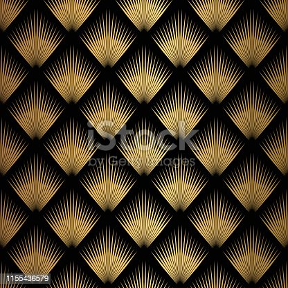 istock Art Deco Pattern. Seamless black and gold background 1155436579