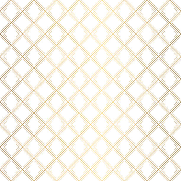 Art Deco Pattern. Seamless white and gold background Art Deco Pattern. Seamless white and gold background. Metallic shells or scales lace ornament. Minimalistic geometric design. Vector lines. 1920-30s motifs. Luxury vintage illustration crisscross stock illustrations