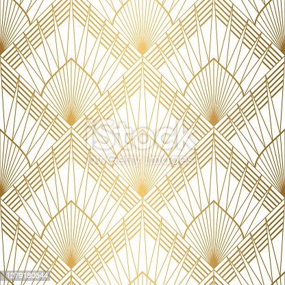 istock Art Deco pattern. Seamless white and gold background. Wedding decoration 1279180544