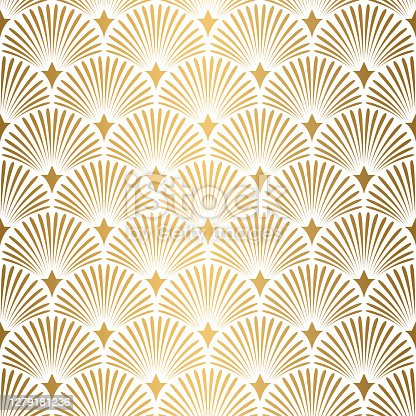 istock Art Deco pattern. Seamless white and gold background. Wedding decoration 1279181236