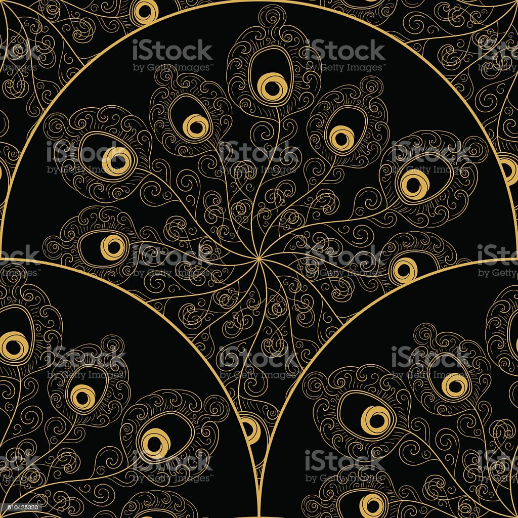 Art deco pattern vector with peacock feathers fan vector art illustration