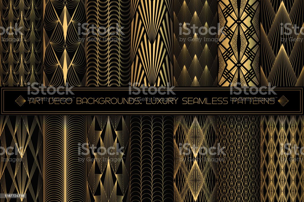 Art Deco Patterns Seamless Black And Gold Backgrounds Set Stock Illustration Download Image Now Istock