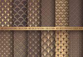 Art Deco Patterns Set. Seamless golden backgrounds. Fan scales ornaments. Geometric decorative digital papers. Vector line design. 1920-30s motifs. Luxury vintage illustration