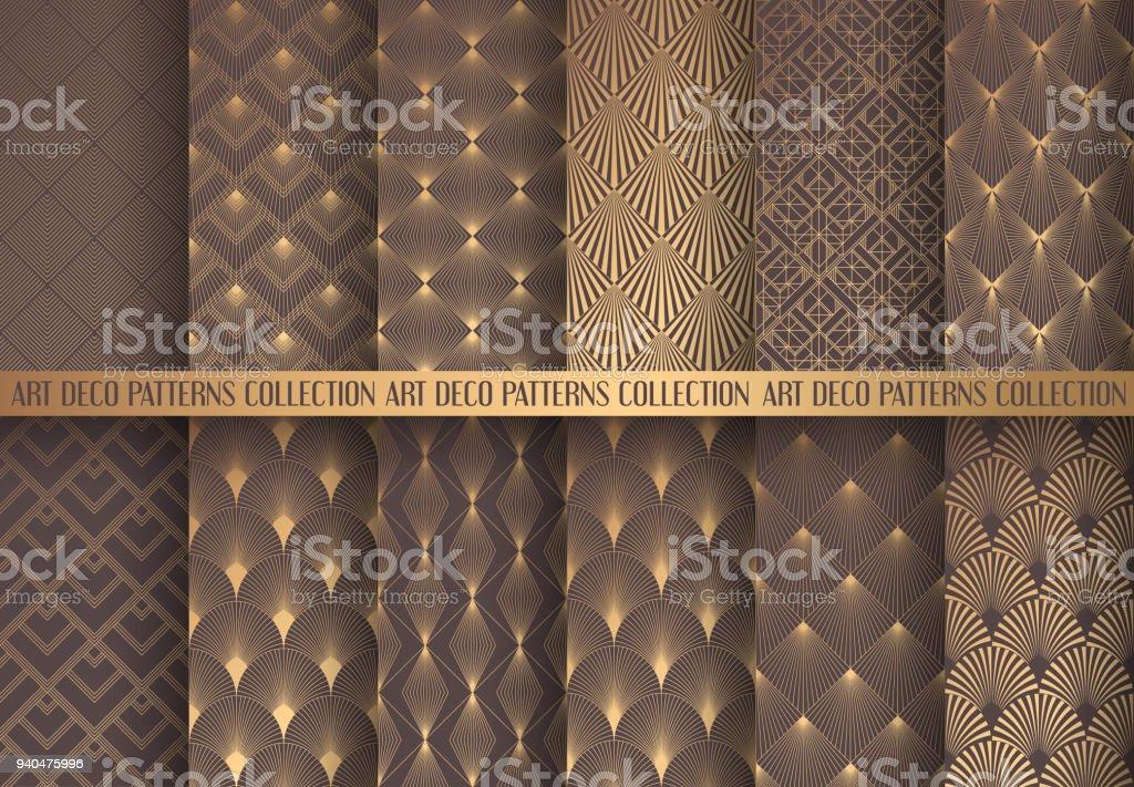 Art Deco Patterns Set vector art illustration