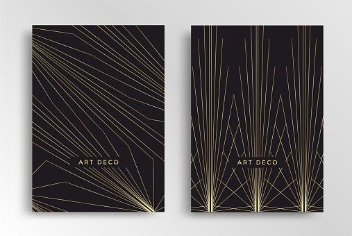 Art Deco poster design template. Retro line cover