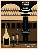 Art deco style background / templates with copy space. Black and gold poster design.