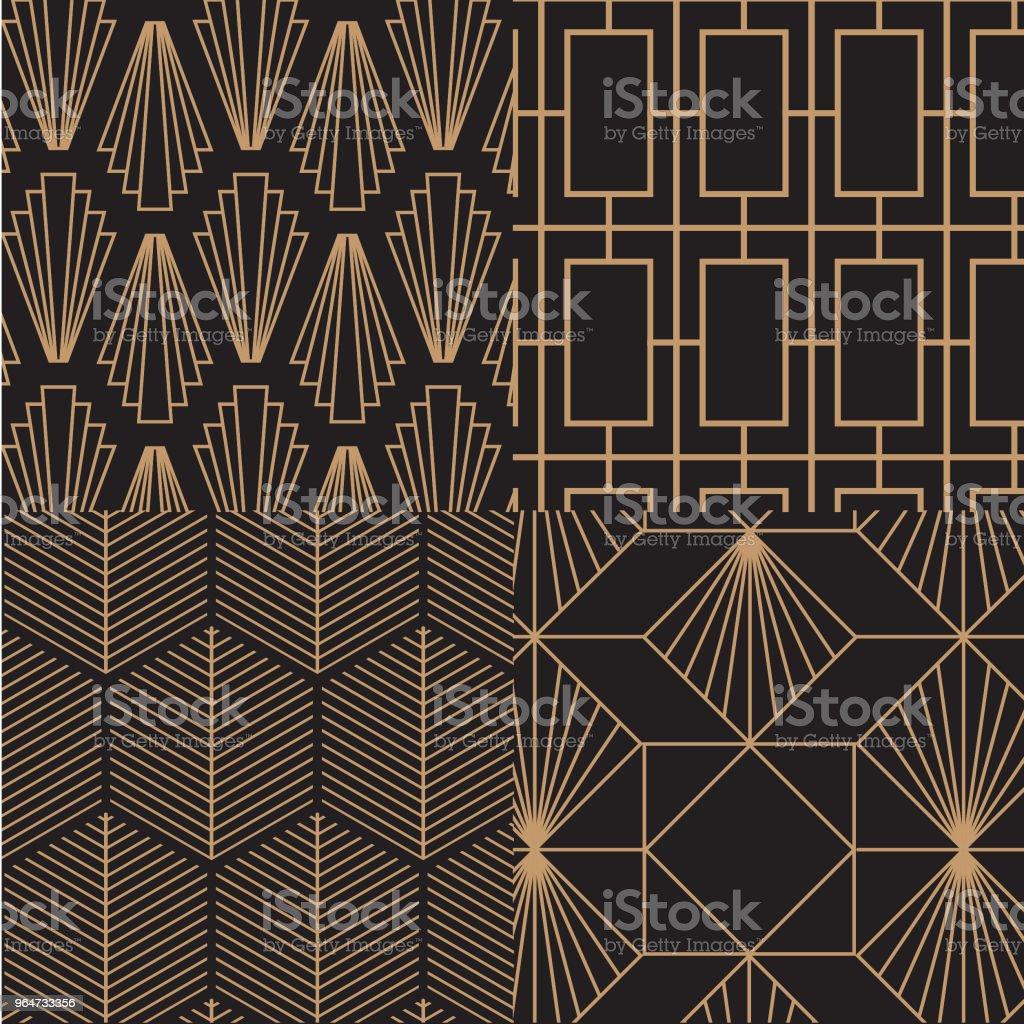 Art Déco, retrô, vintage padrão conjunto. Arte vetorial. - ilustração de arte em vetor