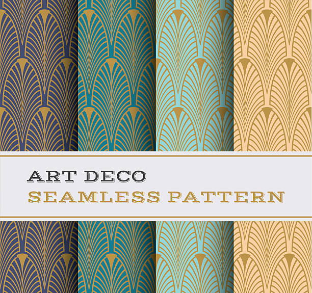 art deco seamless pattern 01 - 1920s style stock illustrations, clip art, cartoons, & icons