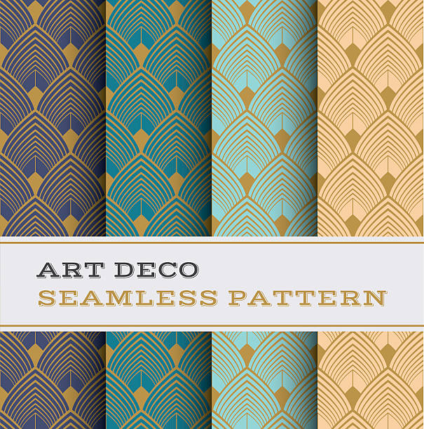 art deco seamless pattern 03 - 1920s style stock illustrations, clip art, cartoons, & icons