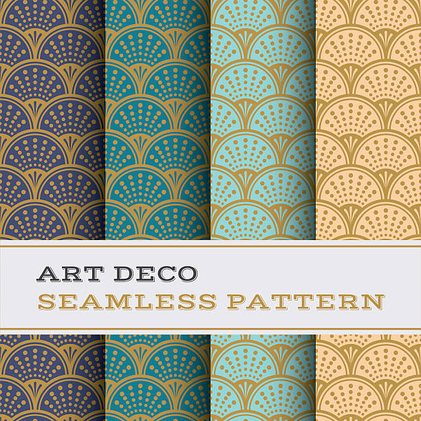 art deco seamless pattern 09 - 1920s style stock illustrations, clip art, cartoons, & icons