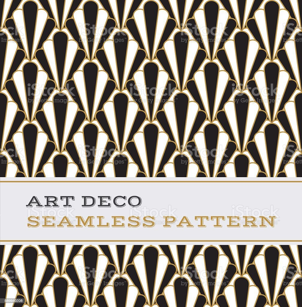 Art Deco seamless pattern  black white and gold colours 01 vector art illustration