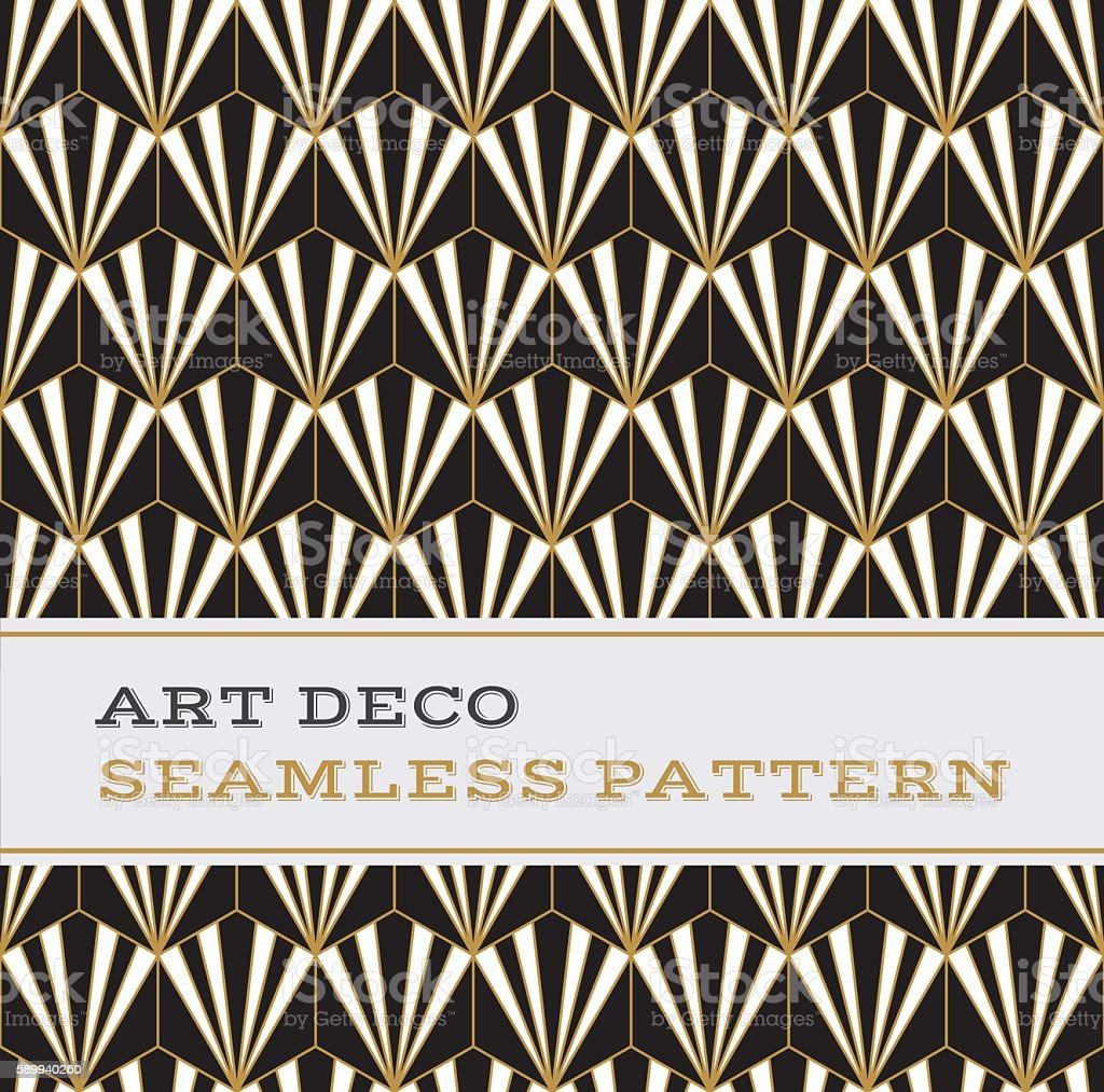 Art Deco seamless pattern  black white and gold colours 02 vector art illustration