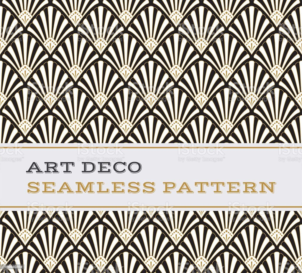 Art Deco seamless pattern  black white and gold colours 03 vector art illustration