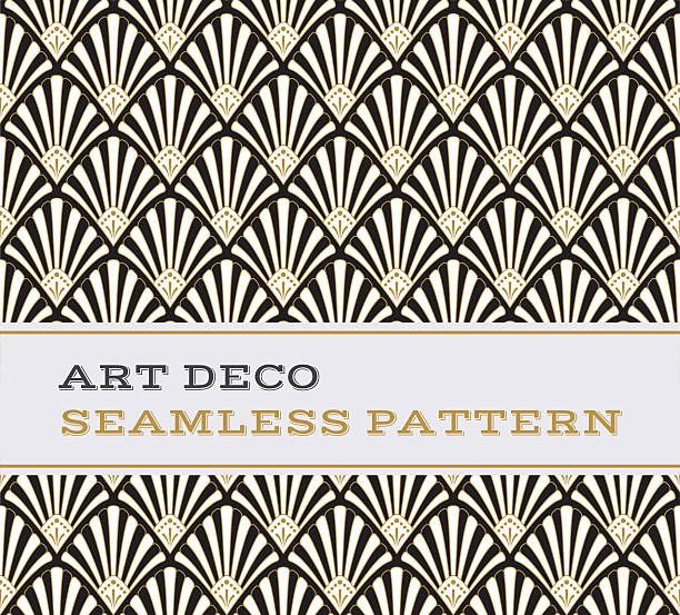 art deco seamless pattern  black white and gold colours 03 - 1920s style stock illustrations, clip art, cartoons, & icons