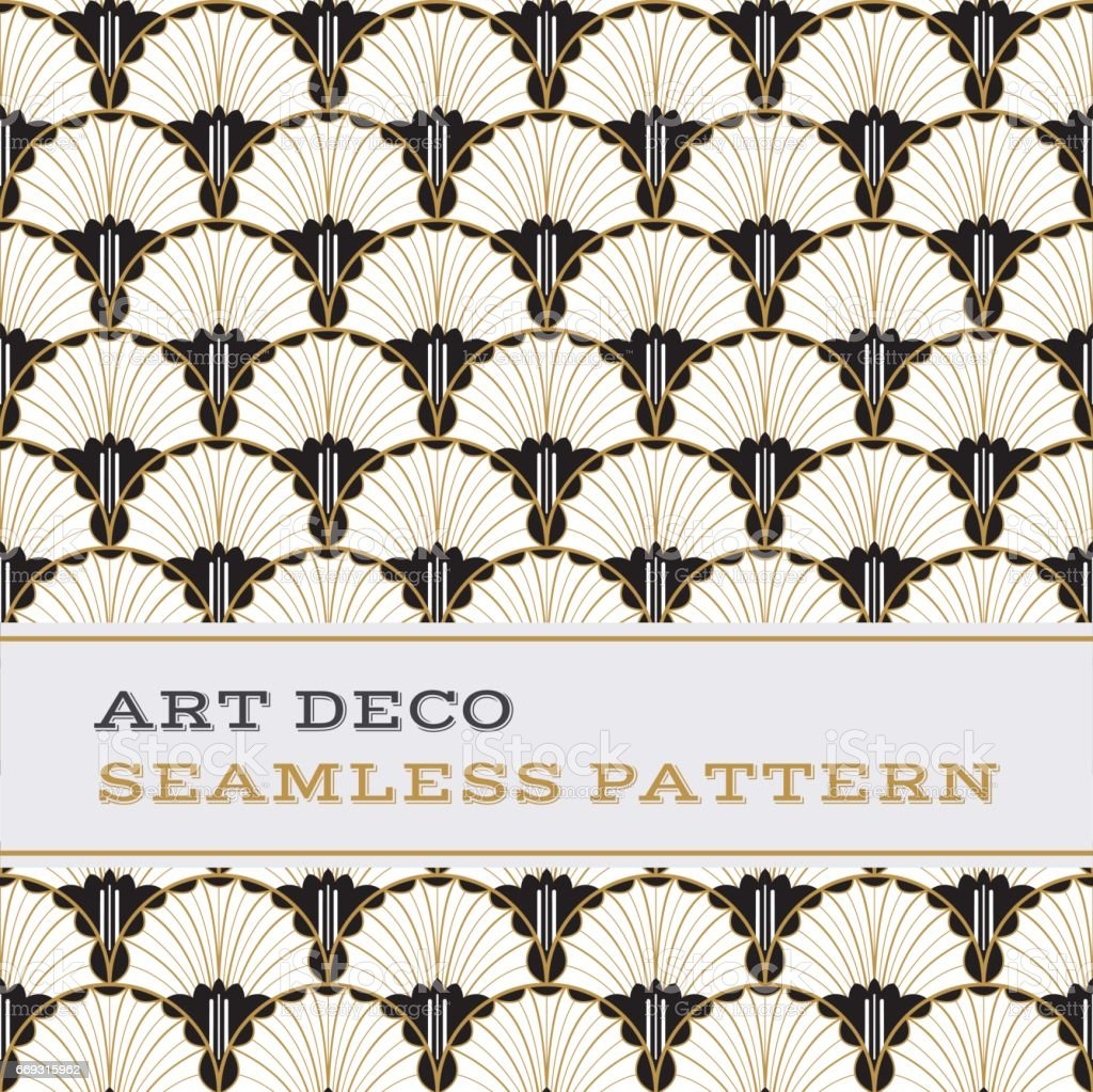 Art Deco seamless pattern  black white and gold colours 04 vector art illustration