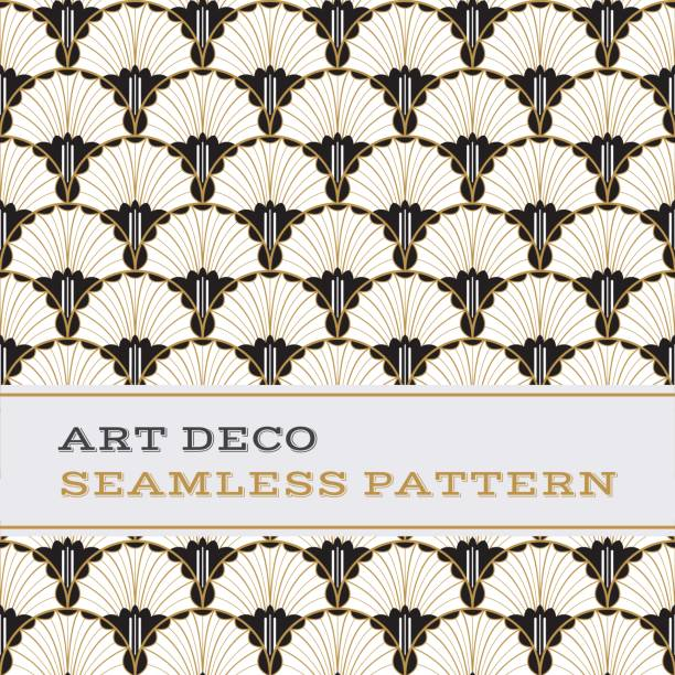 art deco seamless pattern  black white and gold colours 04 - 1920s style stock illustrations, clip art, cartoons, & icons